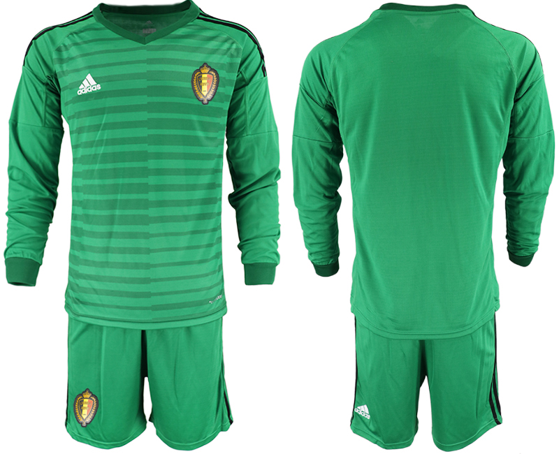Belgium Green 2018 FIFA World Cup Long Sleeve Goalkeeper Soccer Jersey