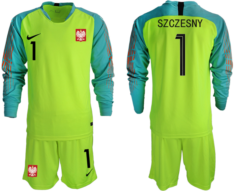 Poland 1 SZCZESNY Fluorescent Green 2018 FIFA World Cup Long Sleeve Goalkeeper Soccer Jersey