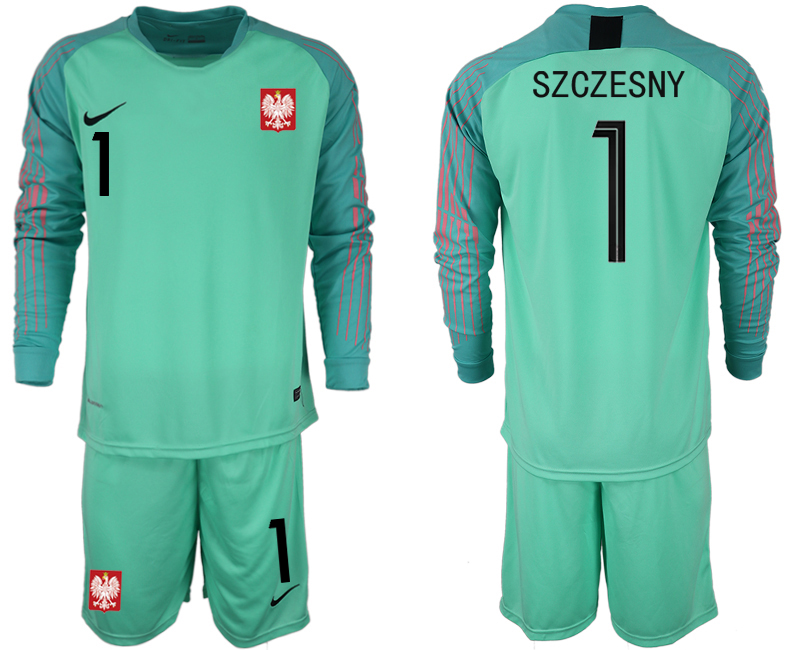 Poland 1 SZCZESNY Green 2018 FIFA World Cup Long Sleeve Goalkeeper Soccer Jersey