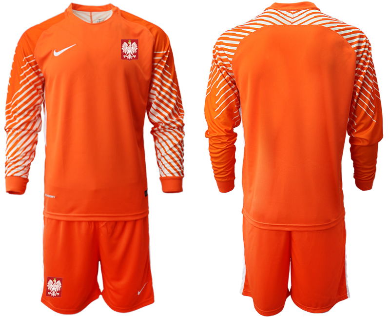 Poland Orange 2018 FIFA World Cup Long Sleeve Goalkeeper Soccer Jersey
