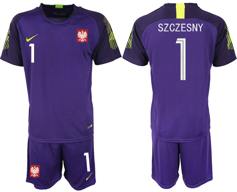 Poland 1 SZCZESNY Purple 2018 FIFA World Cup Goalkeeper Soccer Jersey