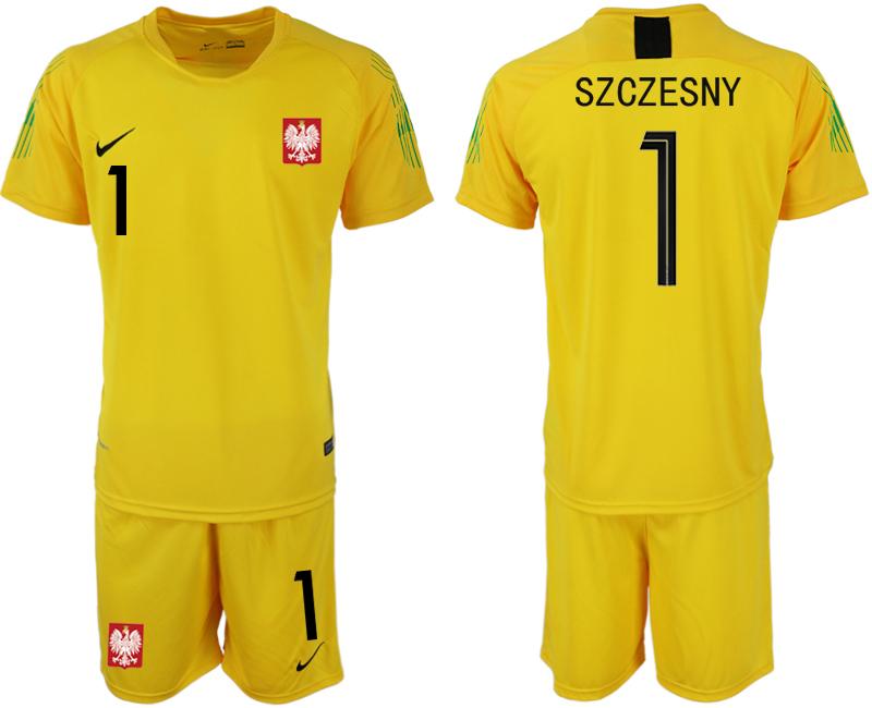 Poland 1 SZCZESNY Yellow 2018 FIFA World Cup Goalkeeper Soccer Jersey