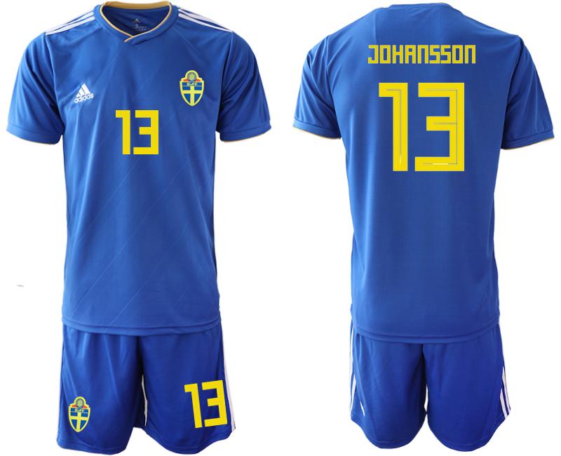 Sweden 13 JOHANSSON Away 2018 FIFA World Cup Soccer Jersey