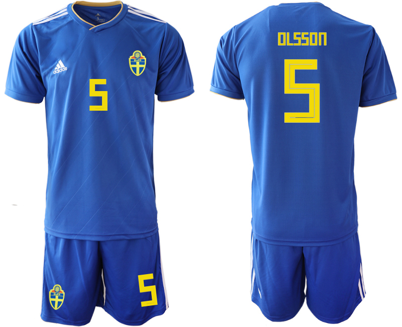 Sweden 5 OLSSON Away 2018 FIFA World Cup Soccer Jersey