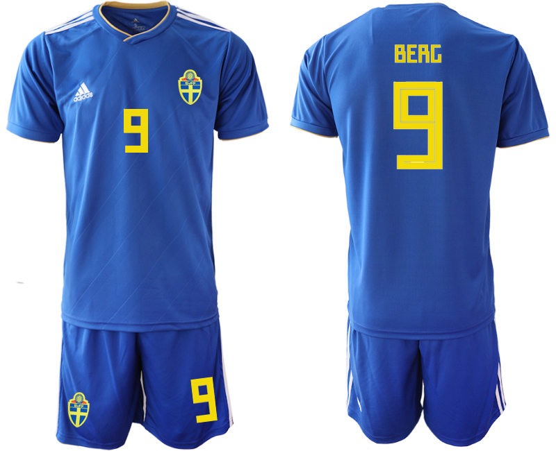 Sweden 9 BERG Away 2018 FIFA World Cup Soccer Jersey