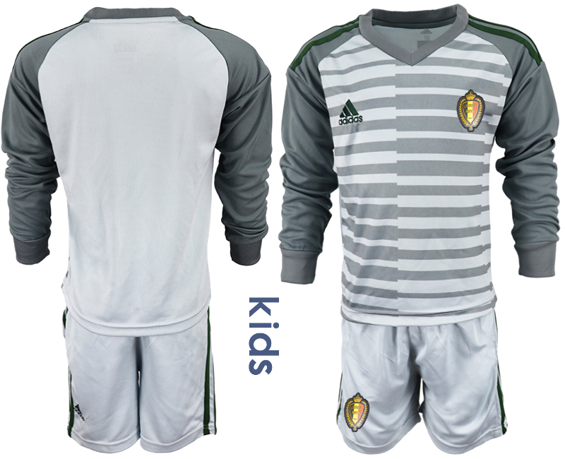 Belgium Gray Youth 2018 FIFA World Cup Long Sleeve Goalkeeper Soccer Jersey