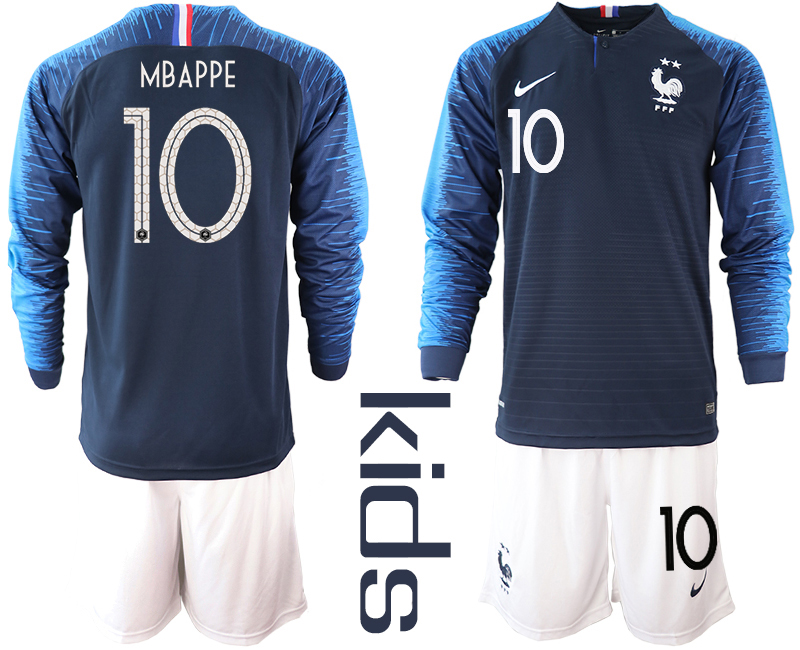 France 10 MBAPPE Home Youth 2018 FIFA World Cup Long Sleeve Soccer Jersey