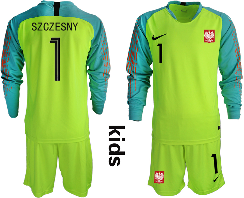 Poland 1 SZCZESNY Fluorescent Green Youth 2018 FIFA World Cup Long Sleeve Goalkeeper Soccer Jersey
