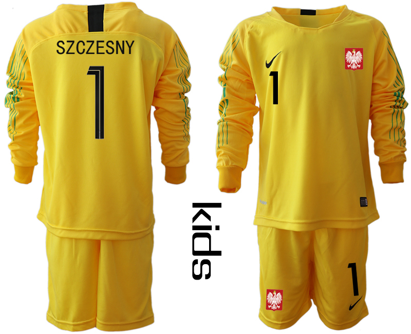 Poland 1 SZCZESNY Yellow Youth 2018 FIFA World Cup Long Sleeve Goalkeeper Soccer Jersey
