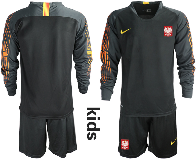 Poland Black Youth 2018 FIFA World Cup Long Sleeve Goalkeeper Soccer Jersey