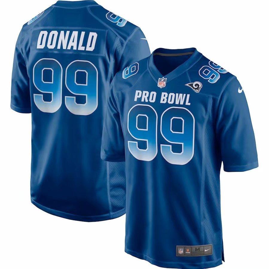 Nike NFC Rams 99 Aaron Donald Royal 2019 Pro Bowl Game Jersey
