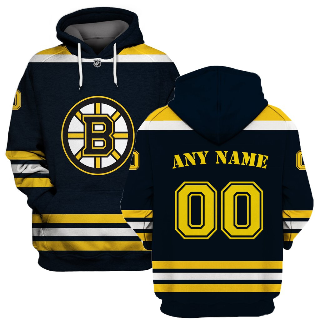 Bruins Black Men's Customized All Stitched Hooded Sweatshirt