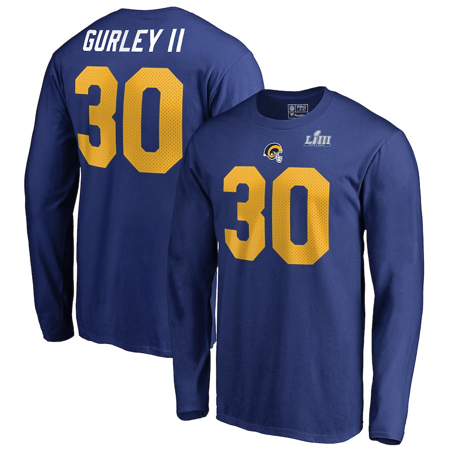 Los Angeles Rams 30 Todd Gurley II NFL Pro Line by Fanatics Branded Super Bowl LIII Bound Eligible Receiver Name & Number Long Sleeve T-Shirt Royal