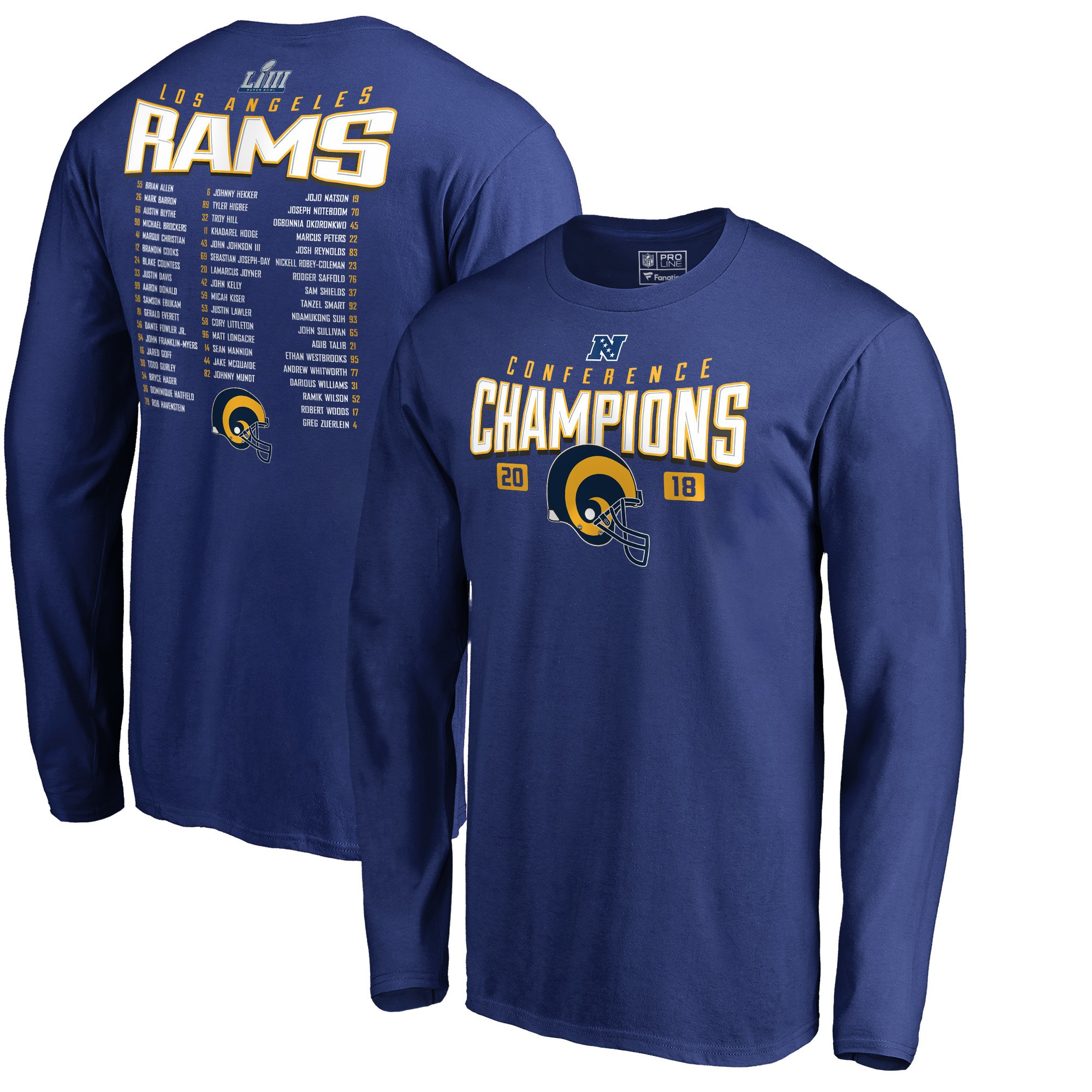 Los Angeles Rams NFL Pro Line by Fanatics Branded 2018 NFC Champions Free Safety Roster Long Sleeve T-Shirt Royal