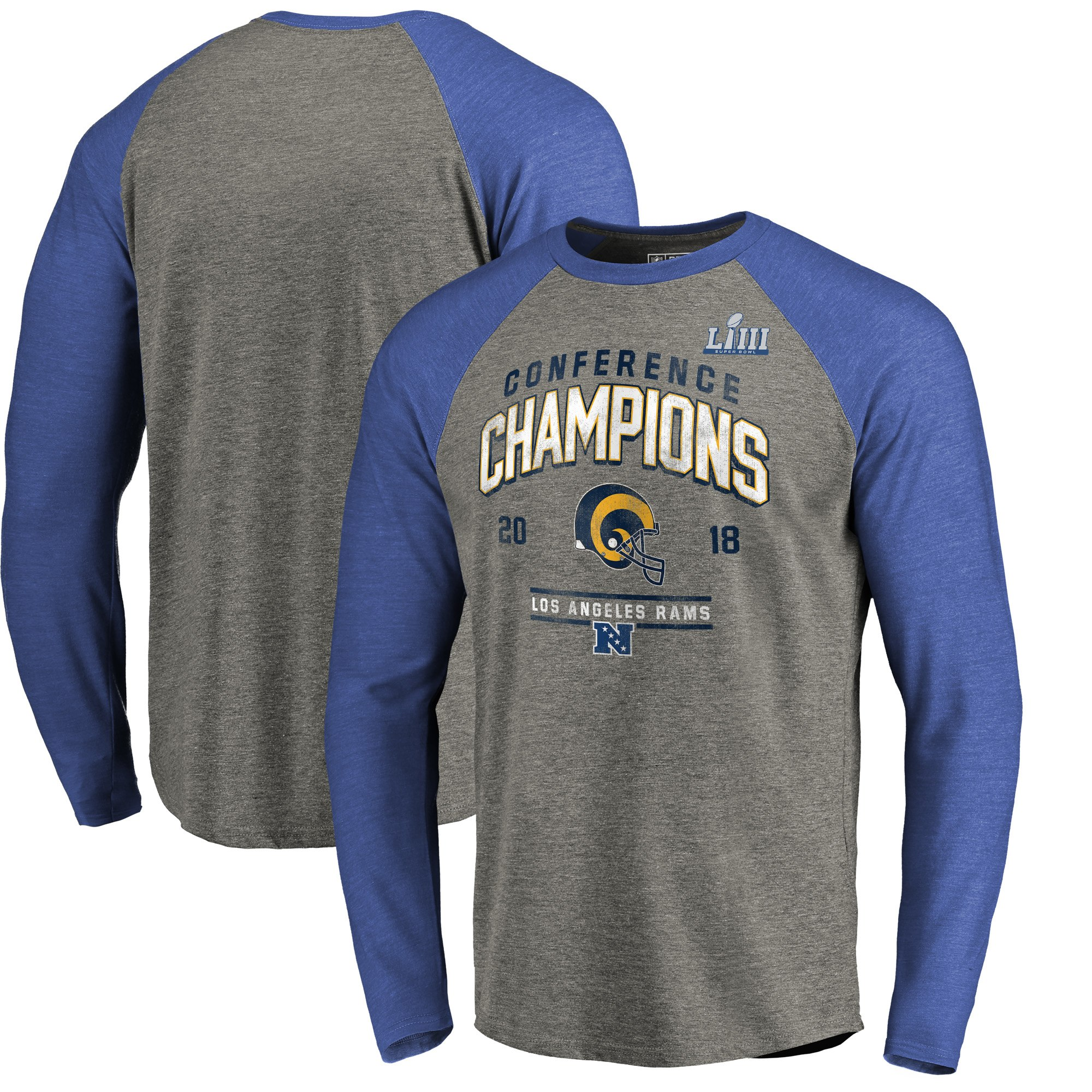 Los Angeles Rams NFL Pro Line by Fanatics Branded 2018 NFC Champions Halfback Sweep Raglan Long Sleeve T-Shirt Heather Gray