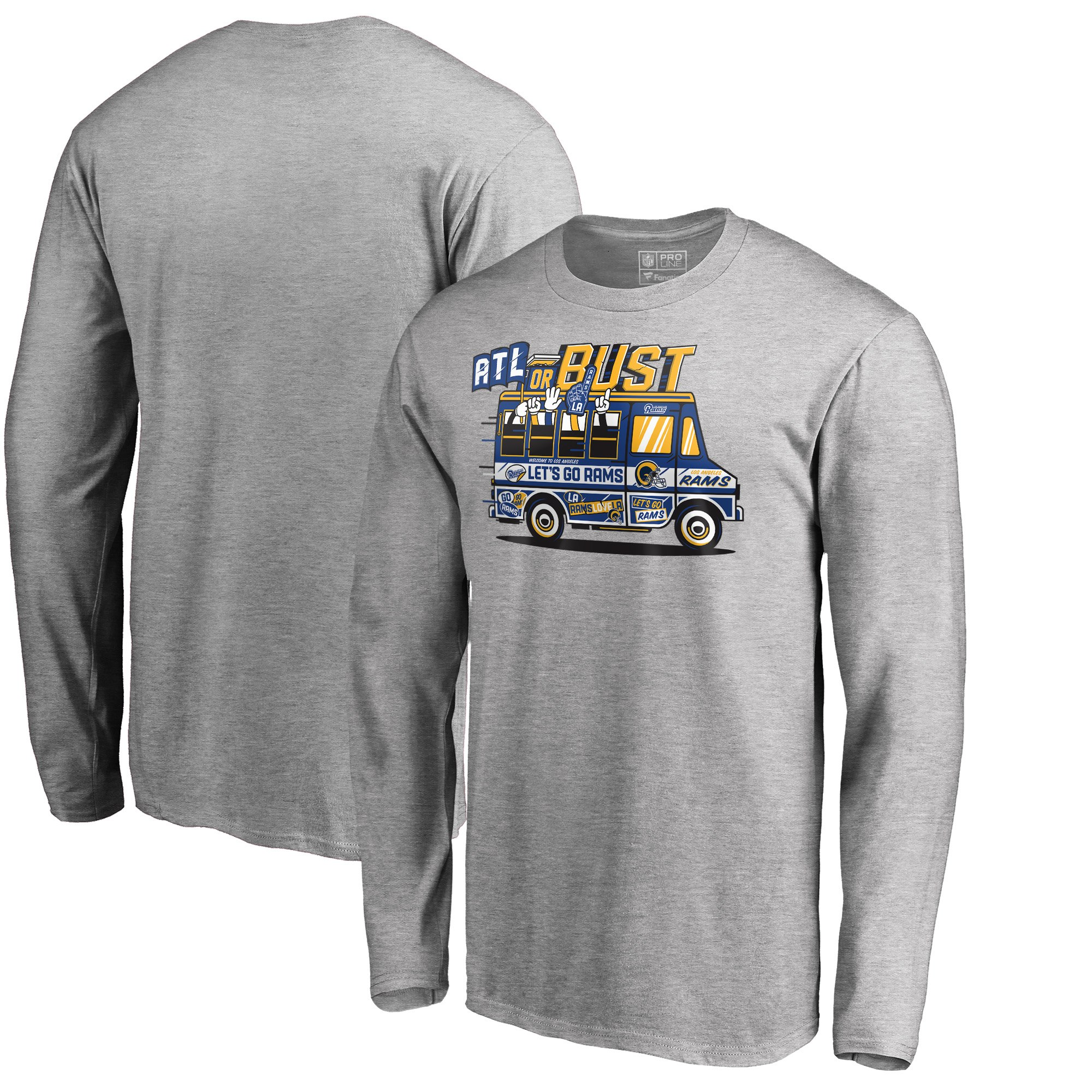 Los Angeles Rams NFL Pro Line by Fanatics Branded Super Bowl LIII Bound ATL Or Bust Long Sleeve T-Shirt Heather Gray
