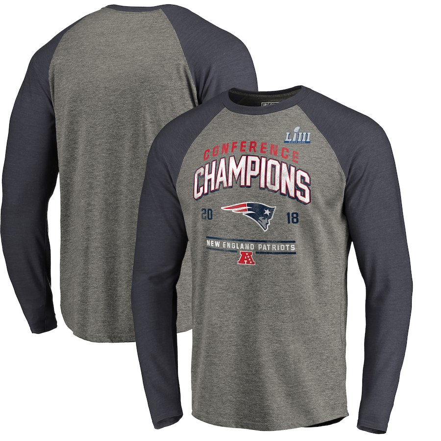 New England Patriots NFL Pro Line by Fanatics Branded 2018 AFC Champions Halfback Sweep Raglan Long Sleeve T-Shirt Heather Gray