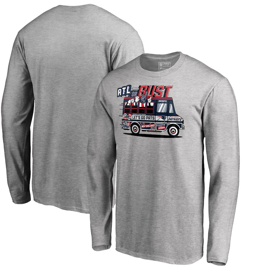 New England Patriots NFL Pro Line by Fanatics Branded Super Bowl LIII Bound ATL Or Bust Long Sleeve T-Shirt Heather Gray