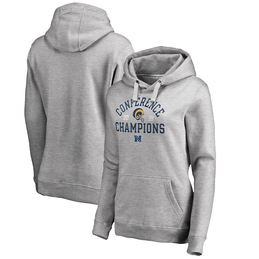 Los Angeles Rams NFL Pro Line by Fanatics Branded Women's 2018 NFC Champions Scrimmage Pullover Hoodie Heather Gray