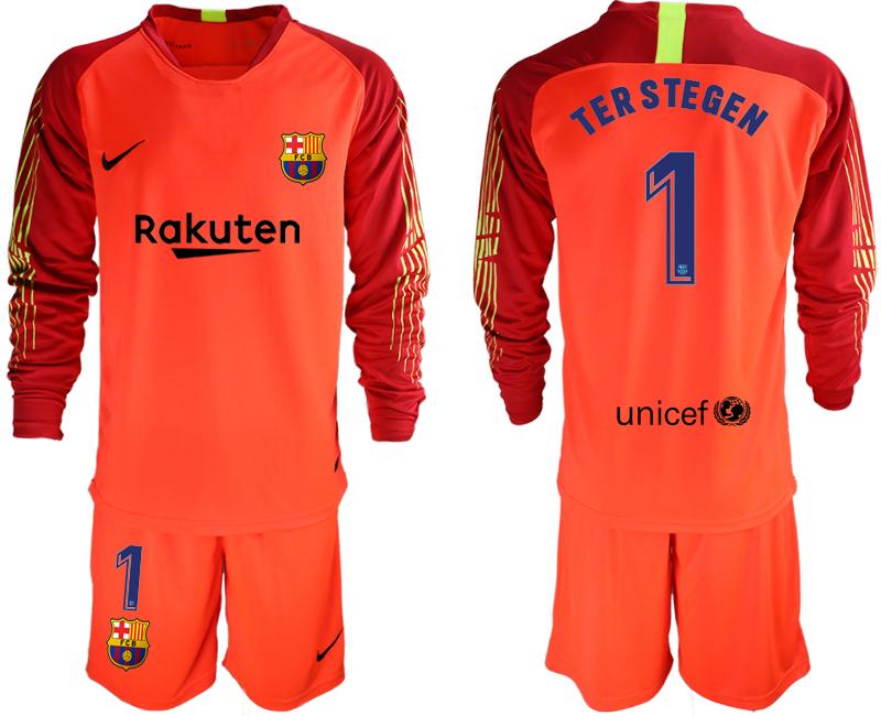 2018-19 Barcelona 1 TER STEGEN Red Long Sleeve Soccer Jersey