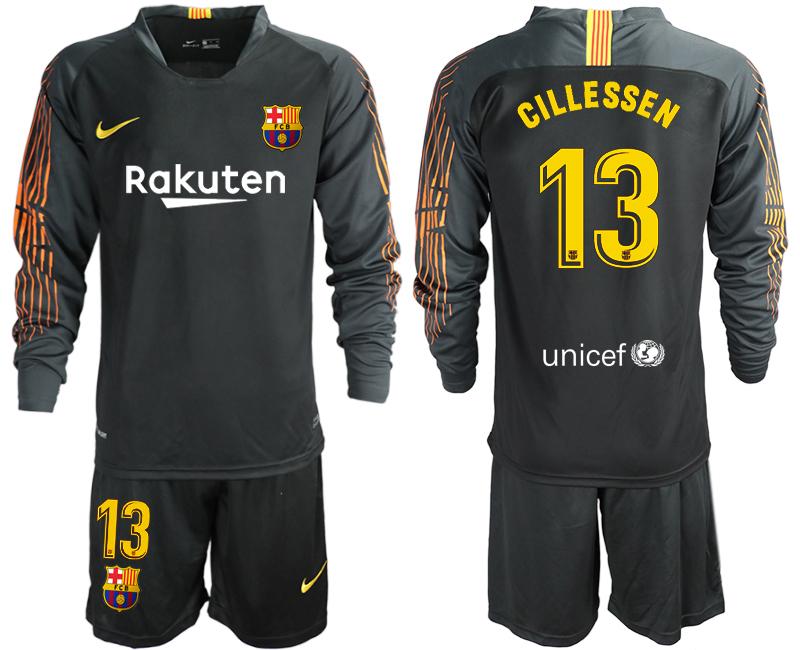2018-19 Barcelona 13 CILLESSEN Black Long Sleeve Soccer Jersey