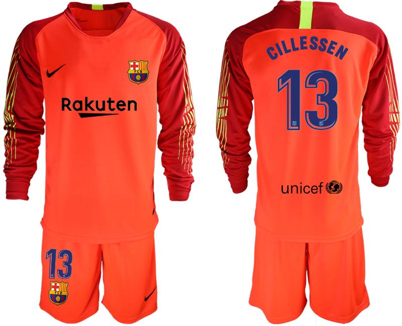 2018-19 Barcelona 13 CILLESSEN Red Long Sleeve Soccer Jersey