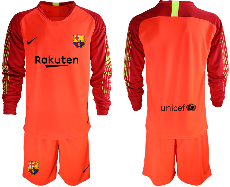 2018-19 Barcelona Red Long Sleeve Soccer Jersey