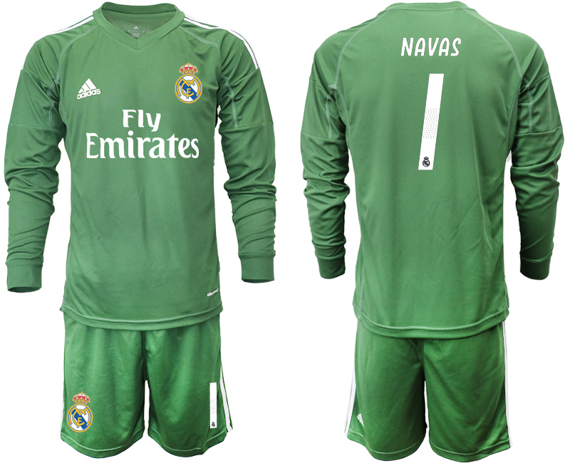 2018-19 Real Madrid 1 NAVAS Army Green Long Sleeve Goalkeeper Soccer Jersey