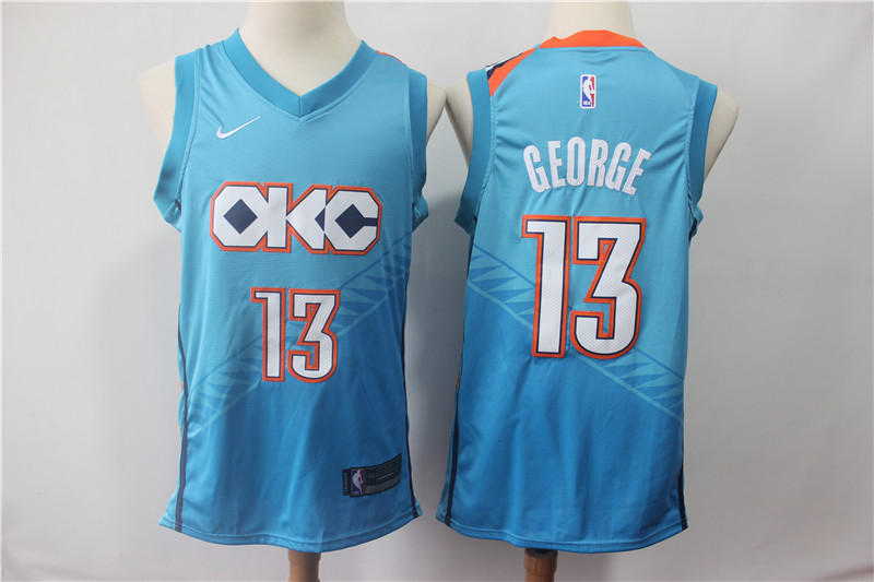 Thunder 13 Paul George Turquoise 2018-19 City Edition Nike Swingman Jersey