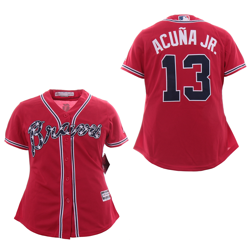 Braves 13 Ronald Acuna Jr. Red Women Cool Base Jersey