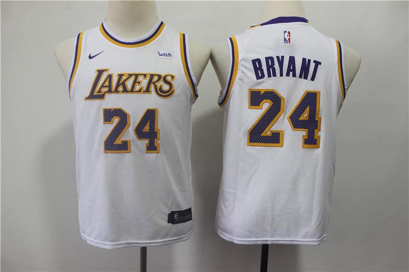 Lakers 24 Kobe Bryant White 2018-19 Youth Nike Swingman Jersey