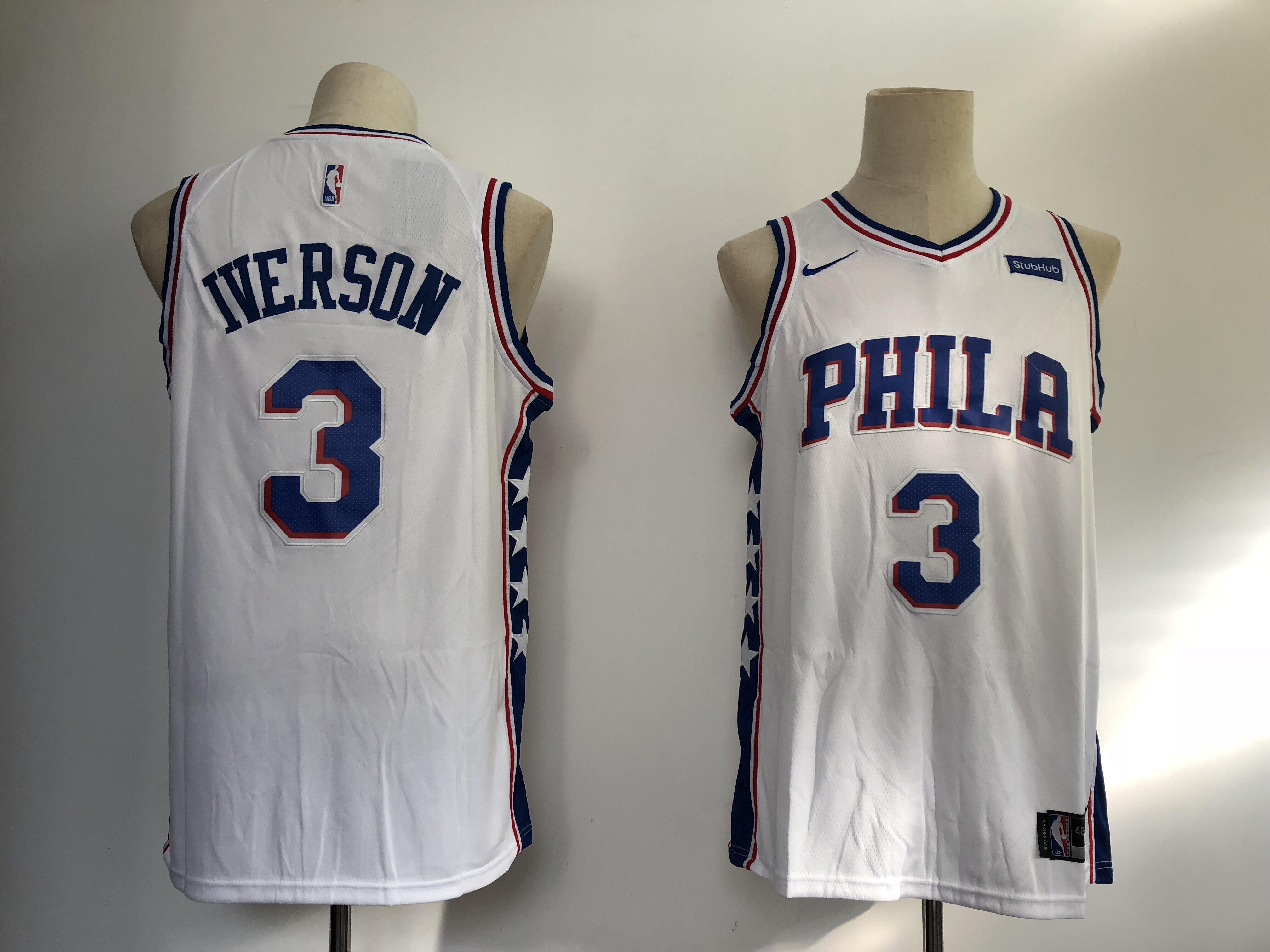 76ers 3 Allen Iverson White Nike Swingman Jersey