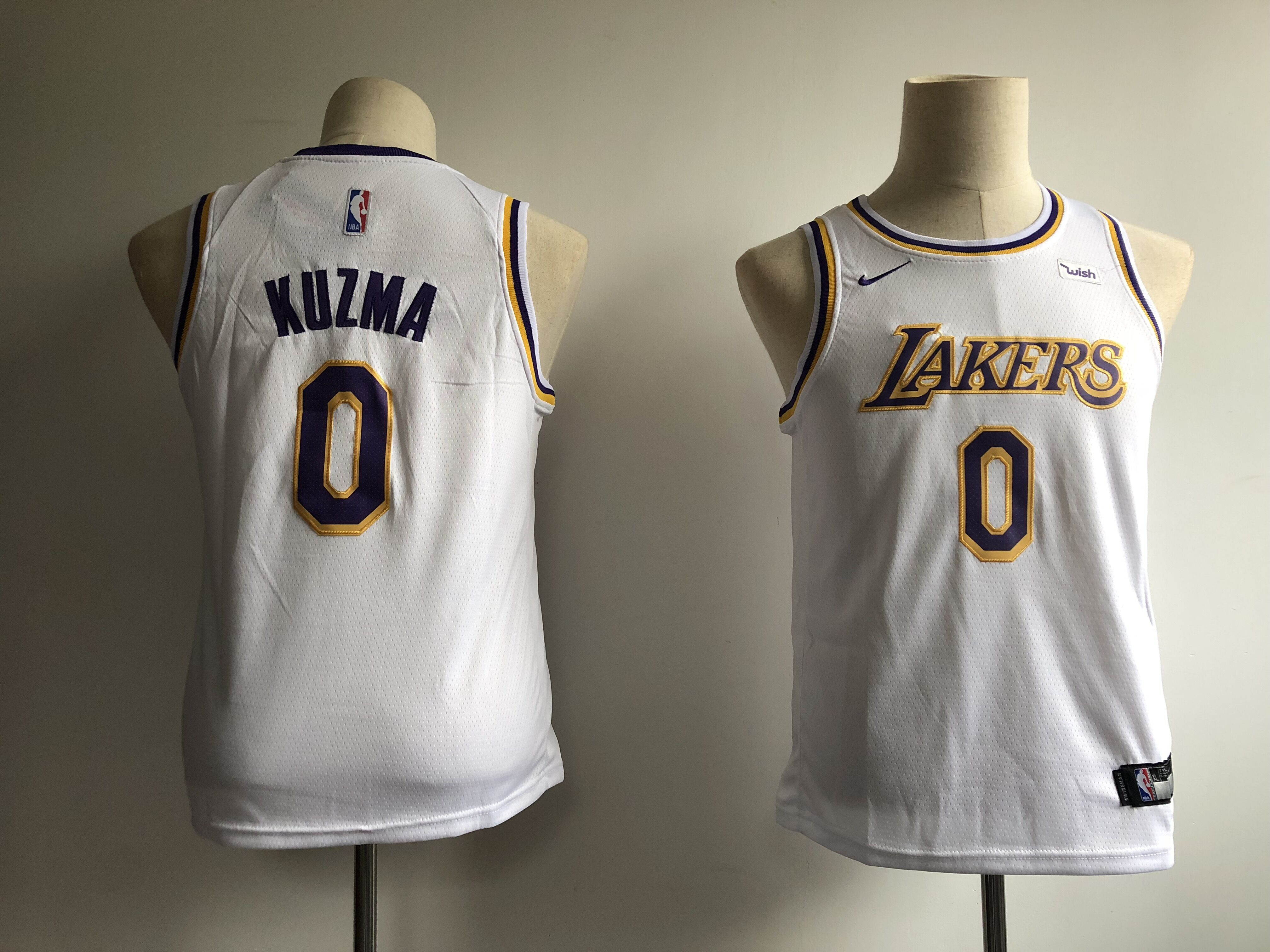 Lakers 0 Kyle Kuzma White Youth 2018-19 Nike Swingman Jersey