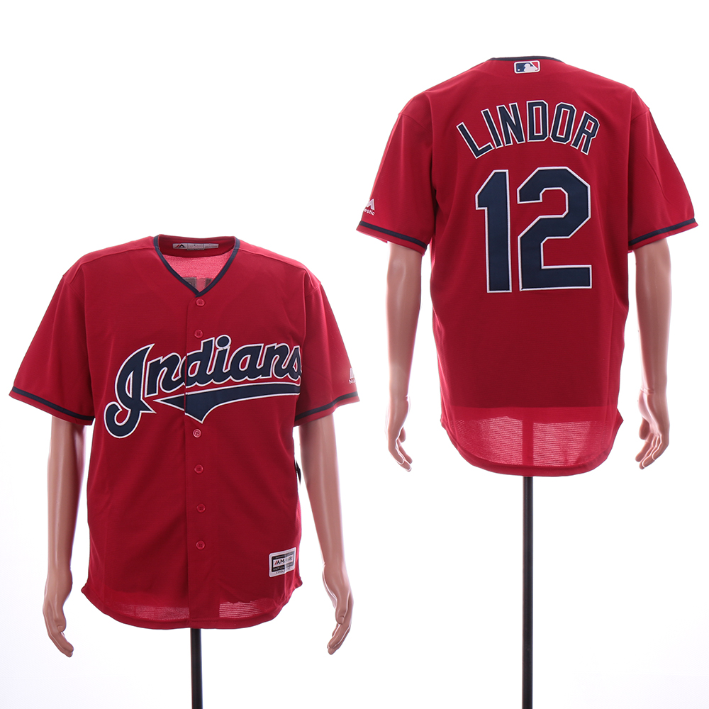 Indians 12 Francisco Lindor Red Cool Base Jersey
