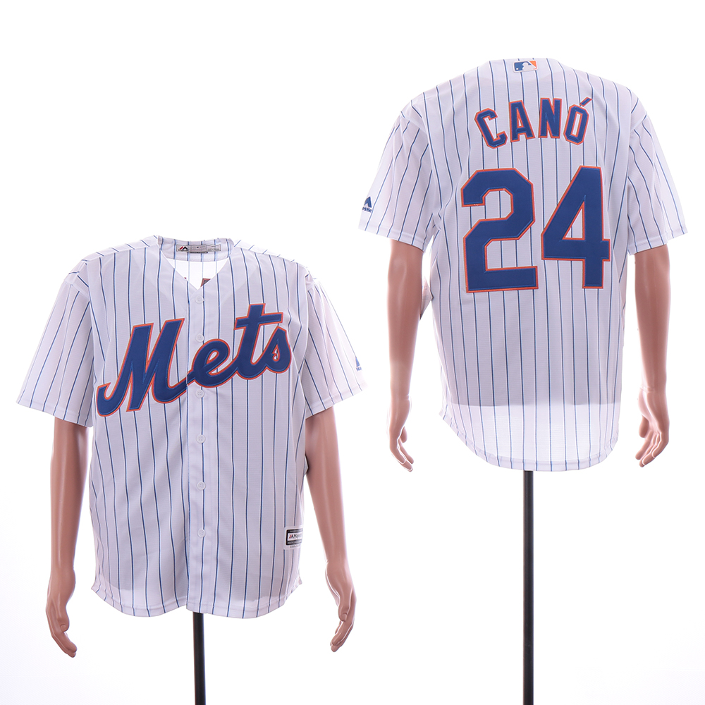 Mets 24 Robinson Cano White Cool Base Jersey