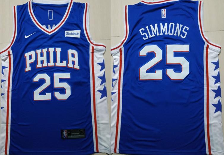 76ers 25 Ben Simmons Blue Nike Swingman Jersey