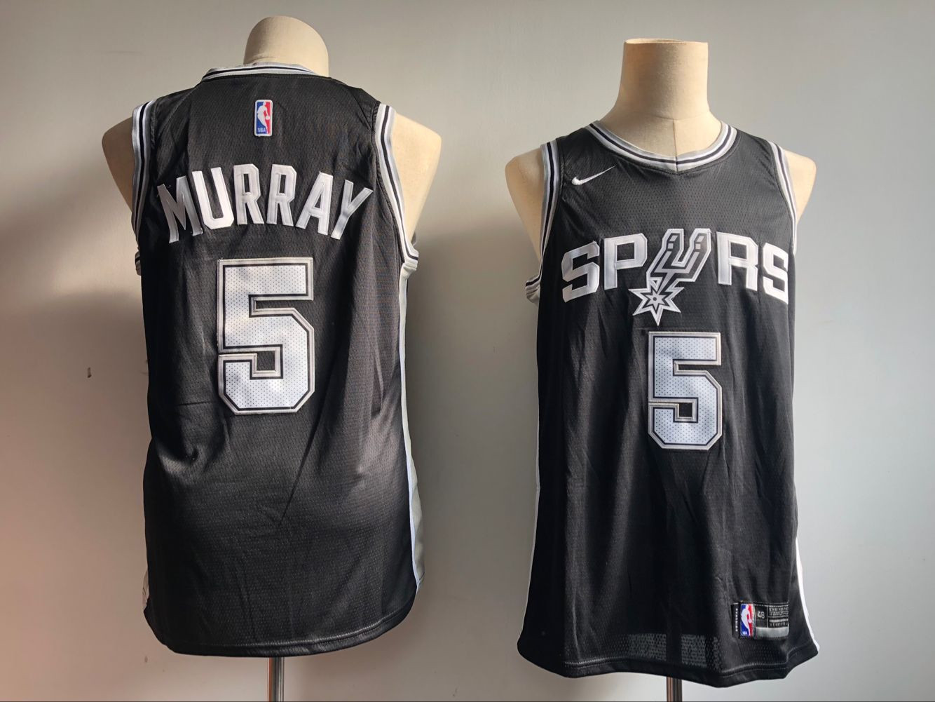 Spurs 5 Dejounte Murray Black Nike Swingman Jersey