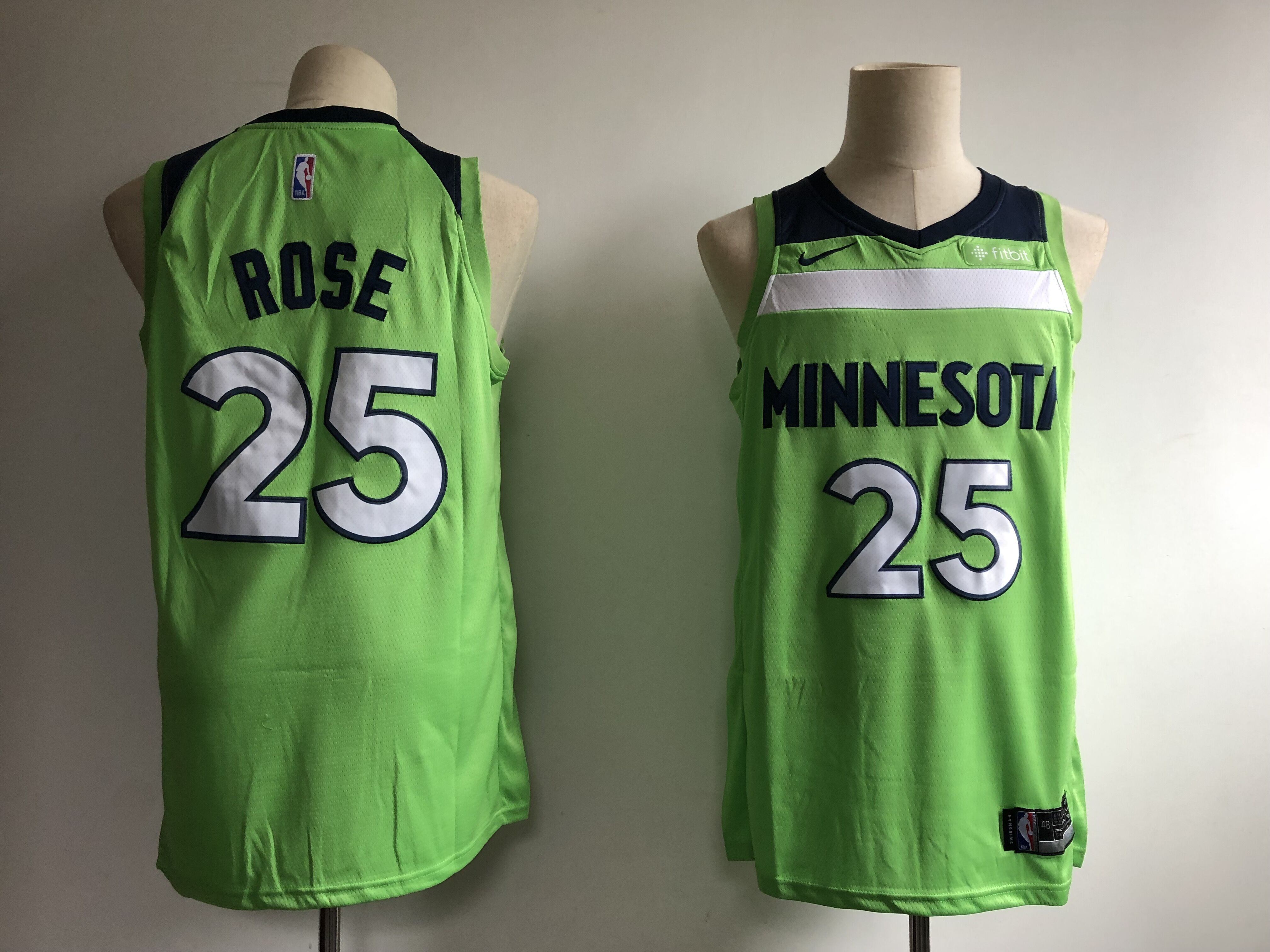 Timberwolves 25 Derrick Rose Green Nike Swingman Jersey