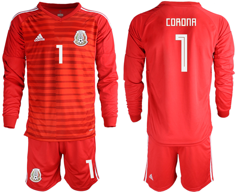 Mexico 1 CORONA Red 2018 FIFA World Cup Long Sleeve Goalkeeper Soccer Jersey