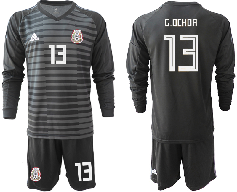 Mexico 13 G.OCHOA Black 2018 FIFA World Cup Long Sleeve Goalkeeper Soccer Jersey