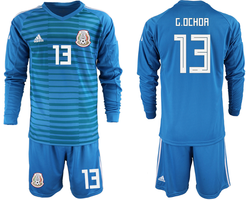 Mexico 13 G.OCHOA Blue 2018 FIFA World Cup Long Sleeve Goalkeeper Soccer Jersey