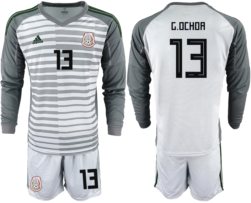 Mexico 13 G.OCHOA Gray 2018 FIFA World Cup Long Sleeve Goalkeeper Soccer Jersey