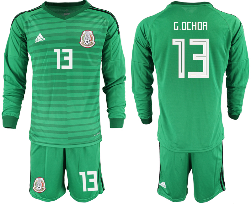 Mexico 13 G.OCHOA Green 2018 FIFA World Cup Long Sleeve Goalkeeper Soccer Jersey