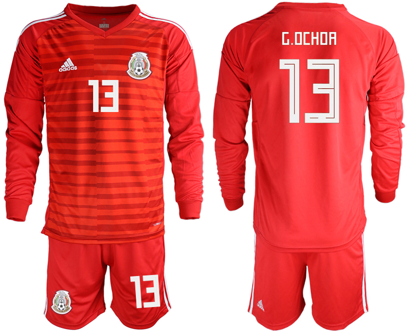 Mexico 13 G.OCHOA Red 2018 FIFA World Cup Long Sleeve Goalkeeper Soccer Jersey