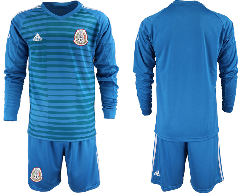 Mexico Blue 2018 FIFA World Cup Long Sleeve Goalkeeper Soccer Jersey