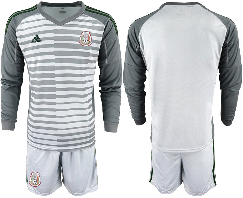 Mexico Gray 2018 FIFA World Cup Long Sleeve Goalkeeper Soccer Jersey