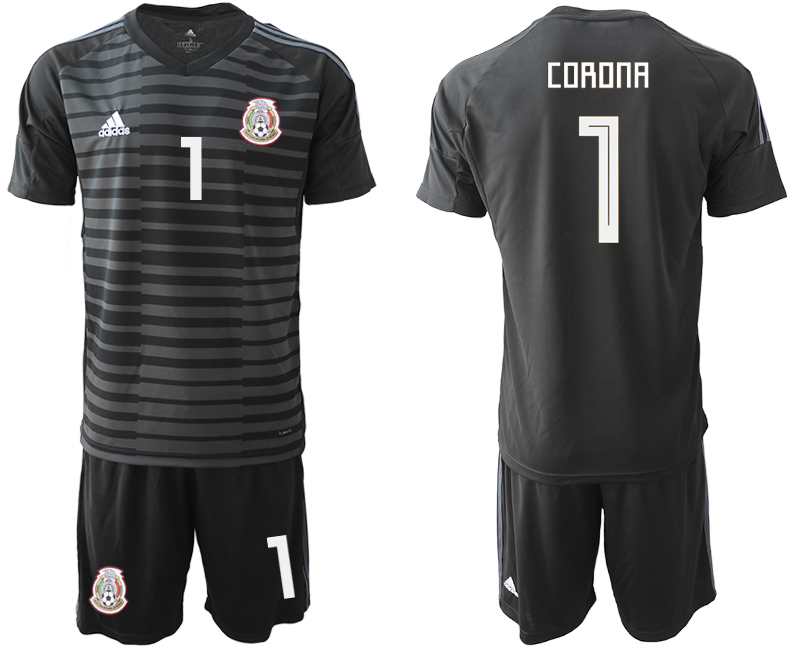 Mexico 1 CORONA Black 2018 FIFA World Cup Goalkeeper Soccer Jersey