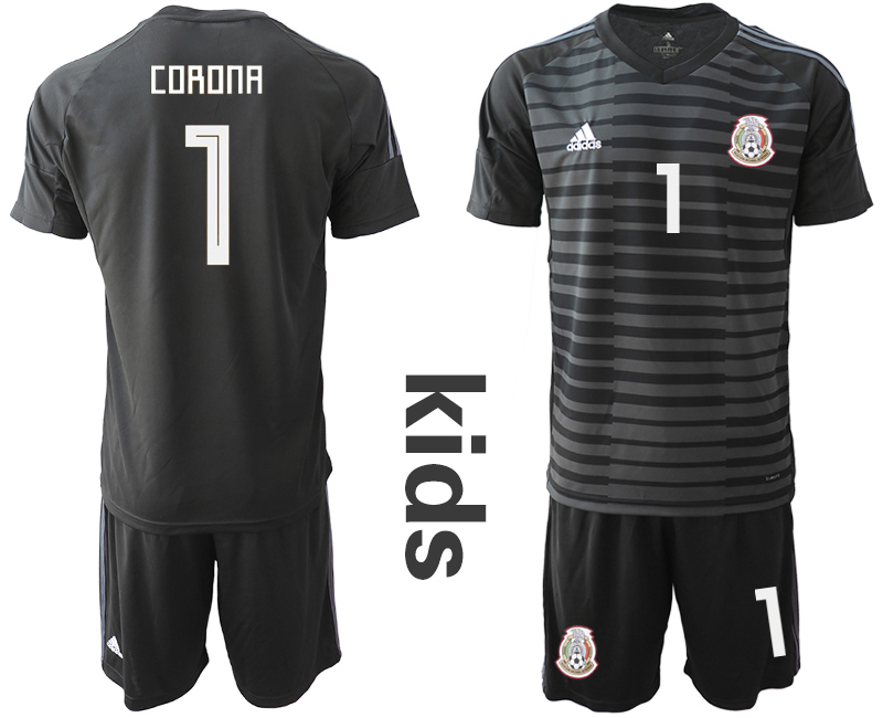 Mexico 1 CORONA Black Youth 2018 FIFA World Cup Goalkeeper Soccer Jersey