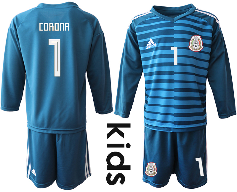 Mexico 1 CORONA Blue Youth 2018 FIFA World Cup Long Sleeve Goalkeeper Soccer Jersey