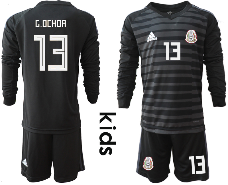 Mexico 13 G.OCHOA Black Youth 2018 FIFA World Cup Long Sleeve Goalkeeper Soccer Jersey